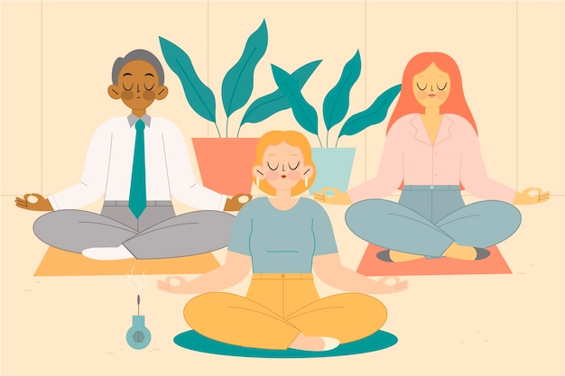 Flat design business people meditating