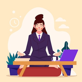瞑想するフラットデザインのビジネスパーソン