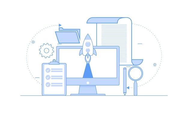 Flat design business startup with rocket
