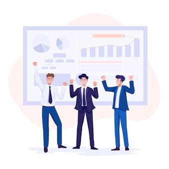 Плоский дизайн концепции успеха в бизнесе. деловые люди празднуют рост бизнеса.