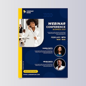 Flat design business webinar a5 flyer template