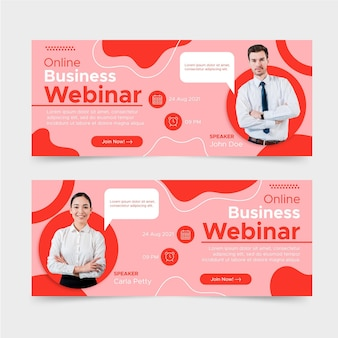 Плоский дизайн бизнес веб-семинаров дизайн баннеров Бесплатные векторы