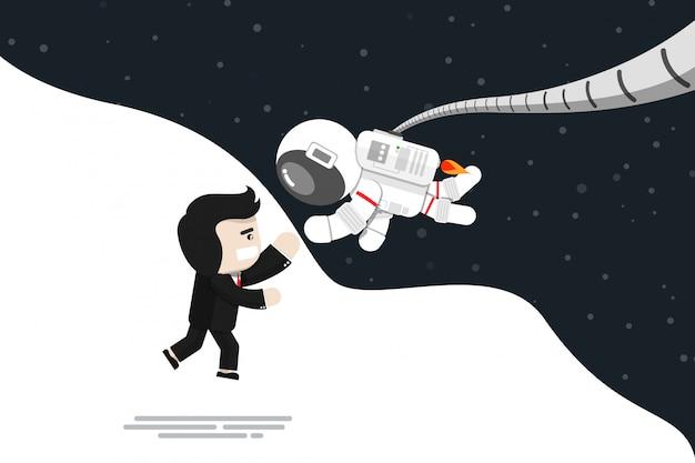 Плоский дизайн, бизнесмен прыгать от радости с астронавтом, векторная иллюстрация, инфографики элемент