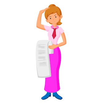 Flat design businesswoman confused bill