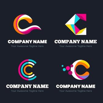 フラットデザインcロゴテンプレートコレクション