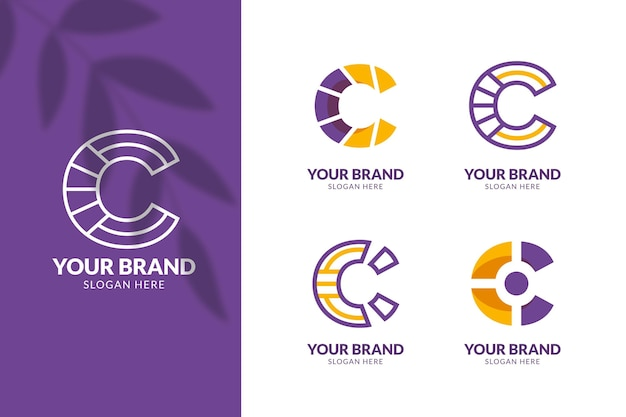 Flat design c logo template collection