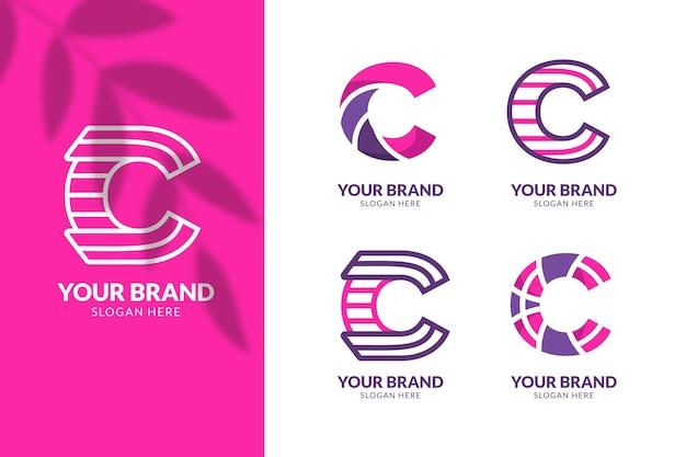 Flat design c logo template collection
