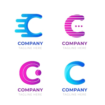Flat design c logo template pack