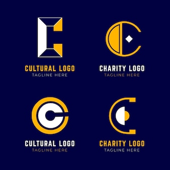 Flat design c logo template set