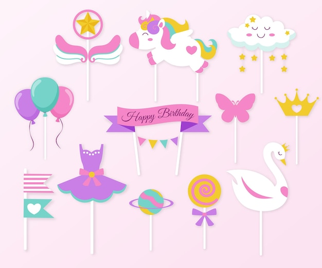 Flat design cake topper collection