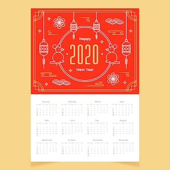 Flat design calendar chinese new year
