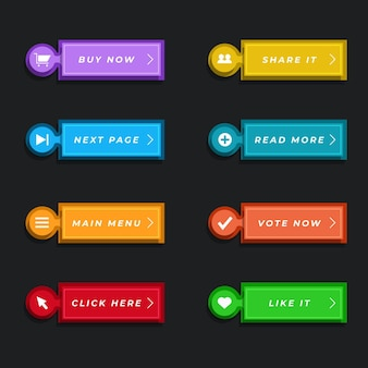 Flat design call to action button pack