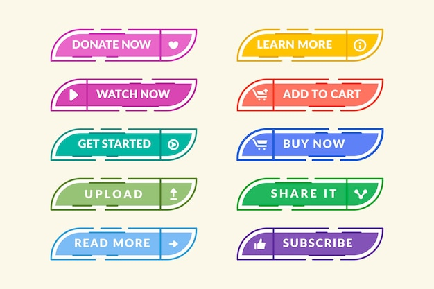 Flat design call to action button set