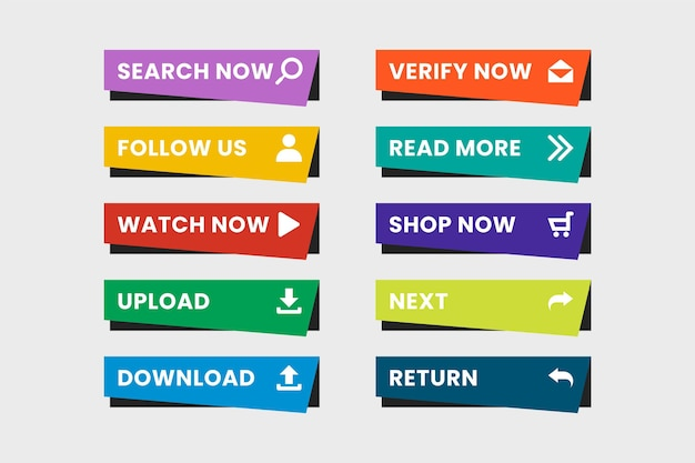 Flat design call to action buttons