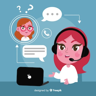 Flat design call center concept