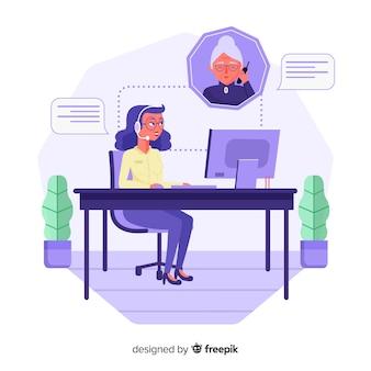 Flat design call center concept