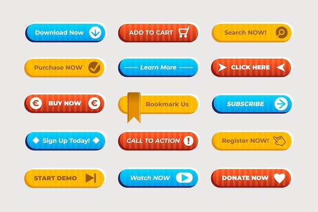 Коллекция кнопок с призывом к действию в плоском дизайне