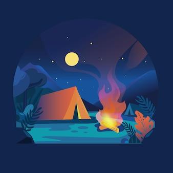 夜のキャンプ場の風景をフラットデザイン