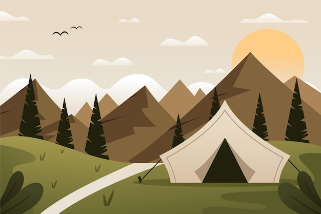 Flat design camping area landscape illustration with tent and hills