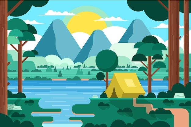 テントと森のあるフラットなデザインのキャンプ場風景