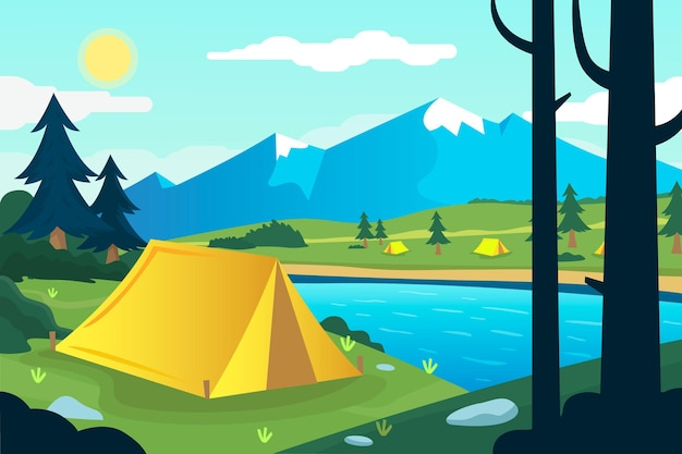 テントと山のあるフラットなデザインのキャンプ場風景