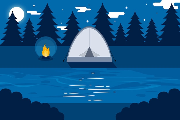 Плоский дизайн кемпинга пейзаж с палаткой ночью