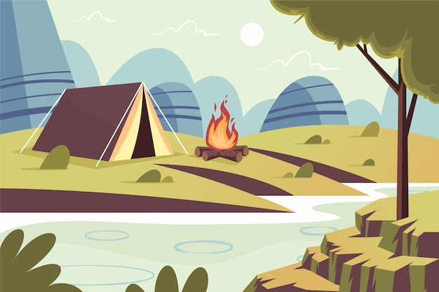 Flat design camping area landscape with tent and campfire