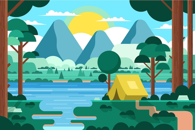 Flat design camping area landscape with tent and forest