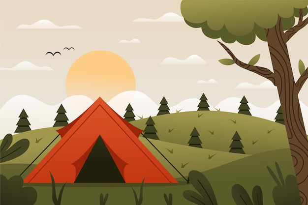 Flat design camping area landscape with tent and hills