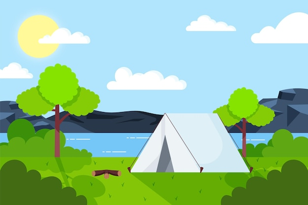 Flat design camping area landscape with tent and lake