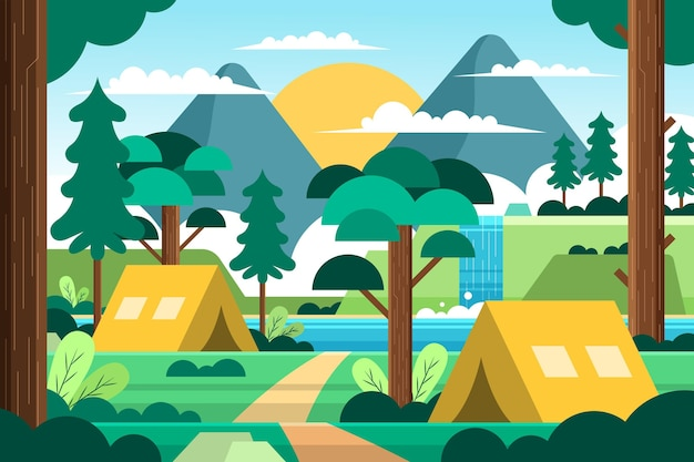 Flat design camping area landscape with tents and forest