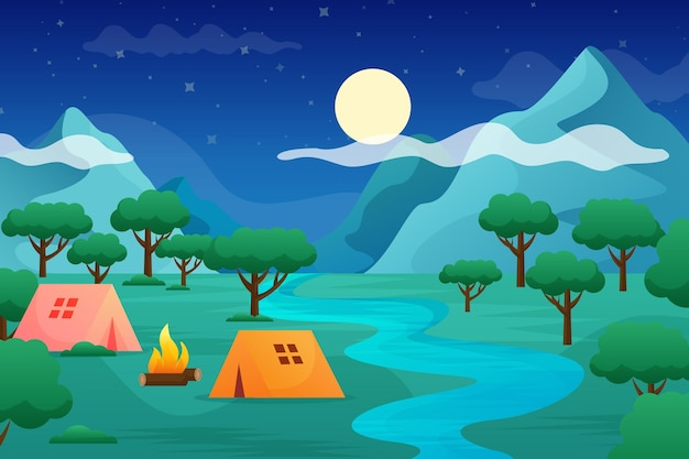 Flat design camping area landscape with tents and river