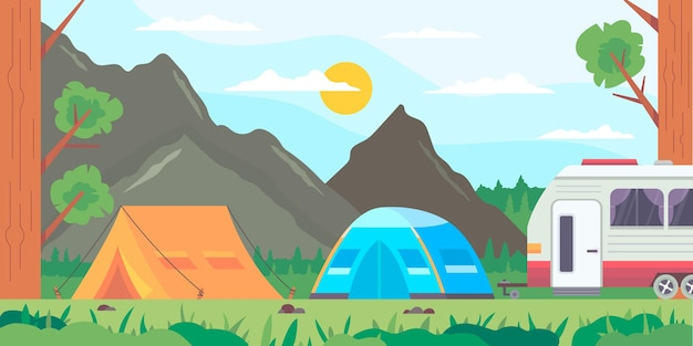 Flat design camping area landscape with tents and rv