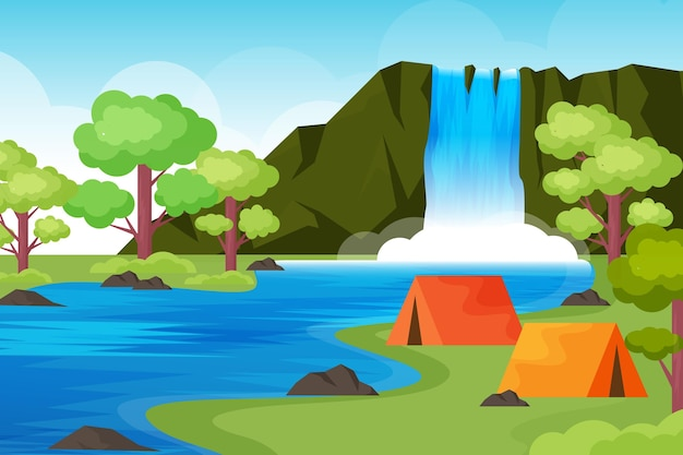 Flat design camping area landscape with tents and waterfall