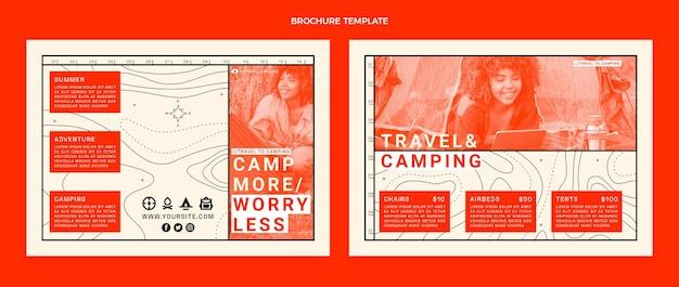 フラットデザインのキャンプパンフレットテンプレート