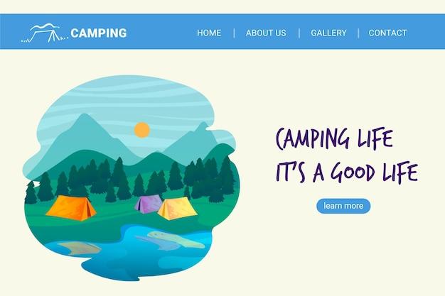 Modello di pagina di destinazione campeggio design piatto