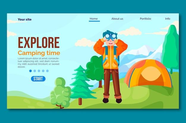 テントと人間のフラットなデザインのキャンプのランディングページ