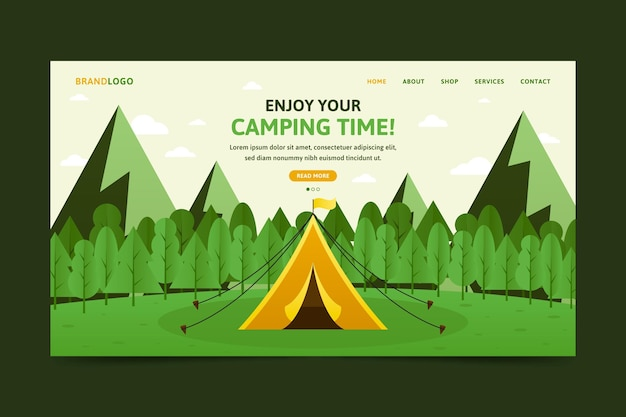 Flat design camping landing page with tent