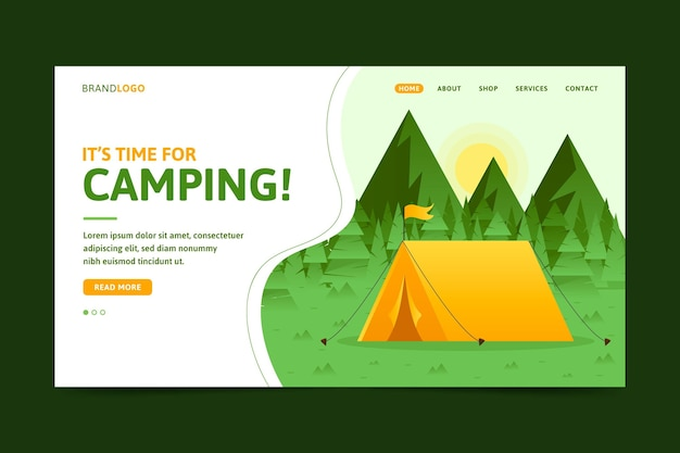 フラットなデザインのキャンプのランディングページ