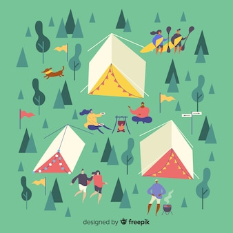 Flat design camping people illustrated