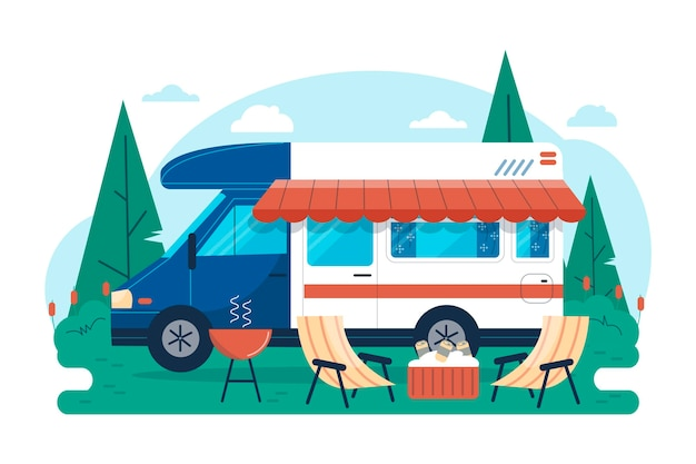 Flat design camping with a caravan illustration