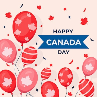 Flat design canada day background with balloons