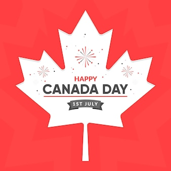 Flat design canada day background with maple leaf