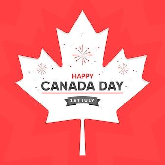 Плоский дизайн канады день фон с кленовым листом