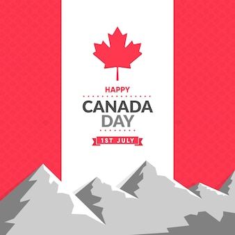 Flat design canada day background with mountain and maple leaf