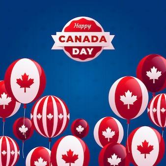 フラットなデザインカナダ日風船背景