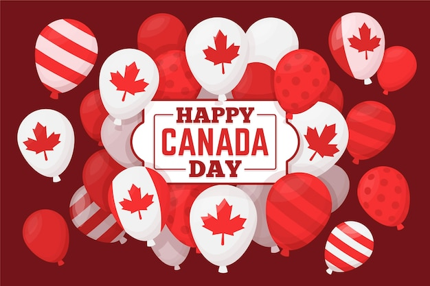 Flat design canada day balloons background