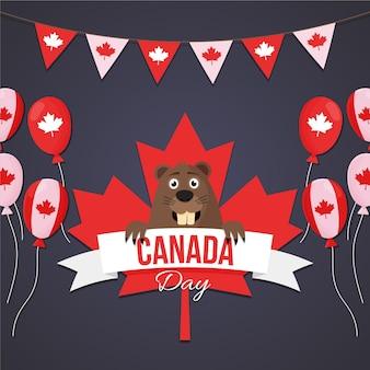 Flat design canada day celebration