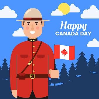 Плоский дизайн канады день концепция