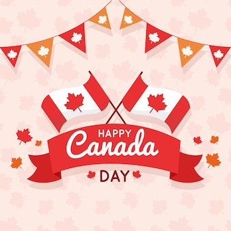 Flat design canada day event
